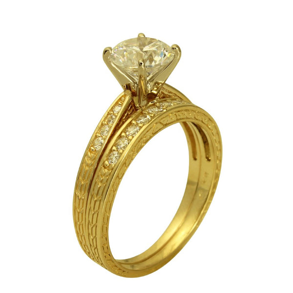 1.50 Ct 14K Real Yellow Gold Round Cut with Round Pave Set Side Stones 4 Prong Cathedral Setting Antique Vintage Style Engagement Wedding Propose Promise Ring with Matching Band Duo 2 Ring Set