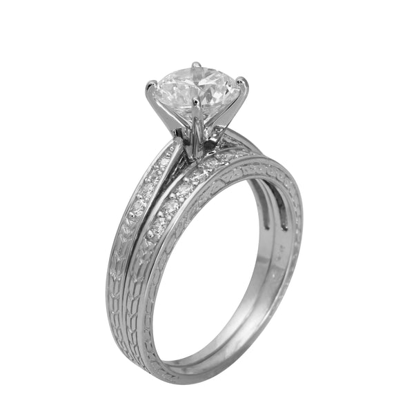 1.50 Ct 14K Real White Gold Round Cut with Pave Set Side Stones 4 Prong Cathedral Setting Engagement Wedding Propose Promise Ring with Matching Band Duo 2 Ring Set