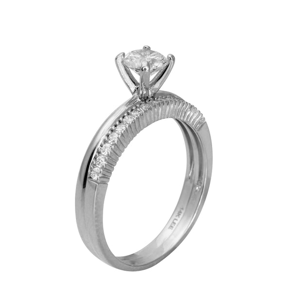 1.00 Ct 14K Real White Gold Round Cut Ring with Matching Band Round Pave Set Stones Engagement Wedding Propose Promise Ring Band Duo Set