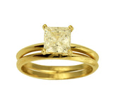 1.25 Ct 14K Real Yellow Gold Square Princess Cut 4 Prong Setting Solitaire Engagement Wedding Propose Promise Ring with Matching Plain Band Duo 2 Ring Set