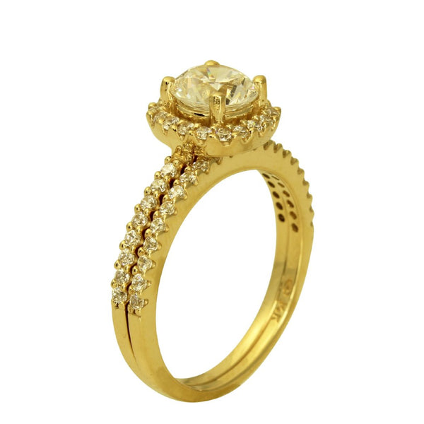 1.50 Ct 14K Real Yellow Gold Round Cut with Pave Set Side Stones 4 Prong Illusion Halo Setting Engagement Wedding Propose Promise Ring with Matching Band Duo 2 Ring Set