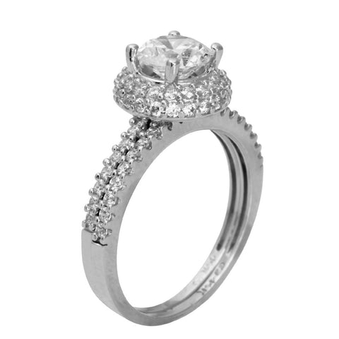 2.00 Ct 14K Real White Gold Round Cut with Round Pave Set Side Stones Illusion Halo Setting Engagement Wedding Propose Promise Ring with Matching Band Duo 2 Ring Set