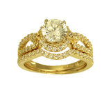 2.50 Ct 14K Real Yellow Gold Fancy Round Cut Center with Round Pave Set Side Stones 4 Prong Illusion Halo Setting Engagement Wedding Propose Promise Ring with Matching Band Duo 2 Ring Set