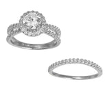 2.50 Ct 14K Real White Gold Fancy Round Cut with Round Pave Set Side Stones 4 Double Prong Illusion Halo Setting Engagement Wedding Propose Promise Ring with Matching Band Duo 2 Ring Set