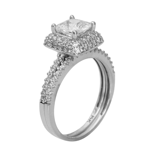 2.00 Ct 14K Real White Gold Square Princess Cut with Round Pave Set Side Stones Illusion Halo Setting Engagement Wedding Propose Promise Ring with Matching Band Duo 2 Ring Set