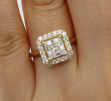 1.75 Ct 14K Real Yellow Gold Square Princess Cut with Round Pave Set Stones 4 Prong Illusion Halo Setting Engagement Wedding Propose Promise Ring