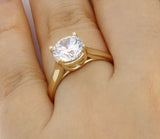 1.50 Ct 14K Real Yellow Gold Round Cut 4 Prong Trellis Basket Setting Classic Solitaire Engagement Wedding Bridal Propose Promise Ring