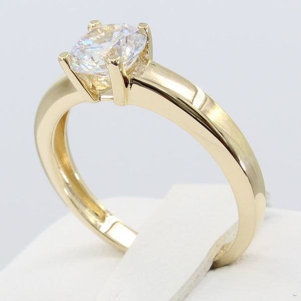 1.00 Ct 14K Real Yellow Gold Classic 4 Prong Round Cut Solitaire Engagement Wedding Bridal Propose Promise Ring
