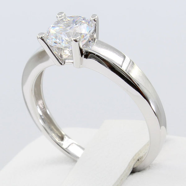 1.00 Ct 14K Real White Gold Round 4 Prong Classic Solitaire Engagement Wedding Bridal Propose Promise Ring