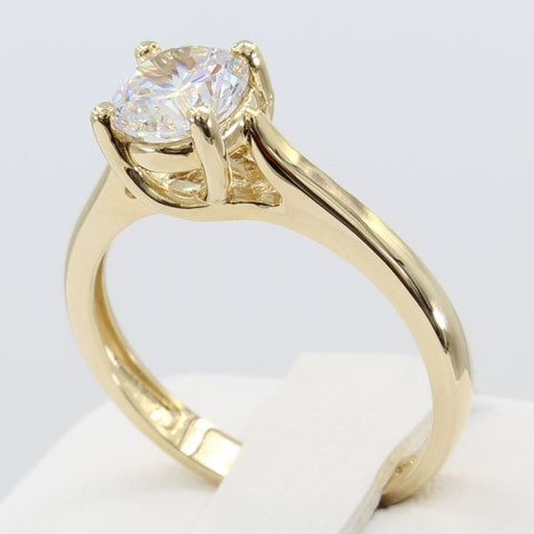 1.00 Ct 14K Real Yellow Gold Round Cut Trellis Setting Classic 4 Prong Solitaire Engagement Wedding Bridal Propose Promise Ring