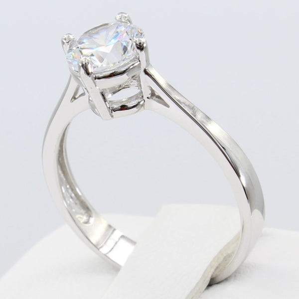 1.00 Ct 14K Real White Gold Round Cut Classic 4 Prong Basket Setting Solitaire Engagement Wedding Bridal Propose Promise Ring