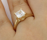 1.25 Ct 14K Real Yellow Gold Square Princess Cut 4 Prong Trellis Setting Classic Solitaire Engagement Wedding Bridal Propose Promise Ring