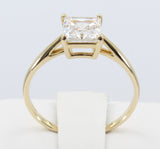 1.00 Ct 14K Real Yellow Gold Square Princess Cut Classic 4 Prong Basket Setting Solitaire Engagement Wedding Bridal Propose Promise Ring