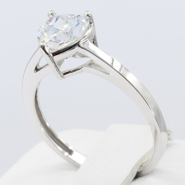 1.50 Ct 14K Real White Gold Heart Cut Shape Basket Setting Solitaire Engagement Wedding Bridal Propose Promise Ring