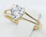 1.00 Ct 14K Real Yellow Gold Heart Shape 4 Prong Basket Setting Solitaire Engagement Bridal Promise Ring