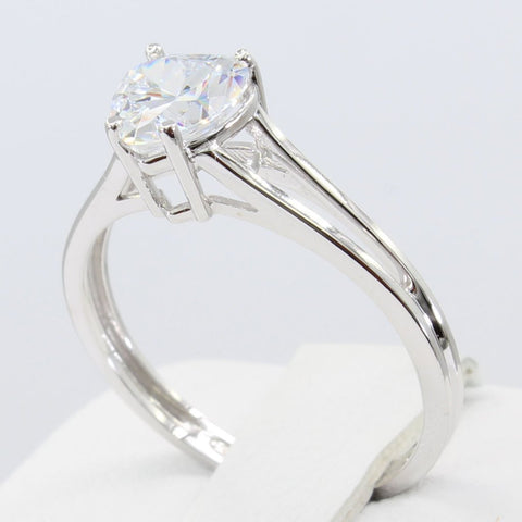 1.00 Ct 14K Real White Gold Heart Cut Shape 4 Prong Basket Setting Solitaire Engagement Wedding Bridal Propose Promise Ring