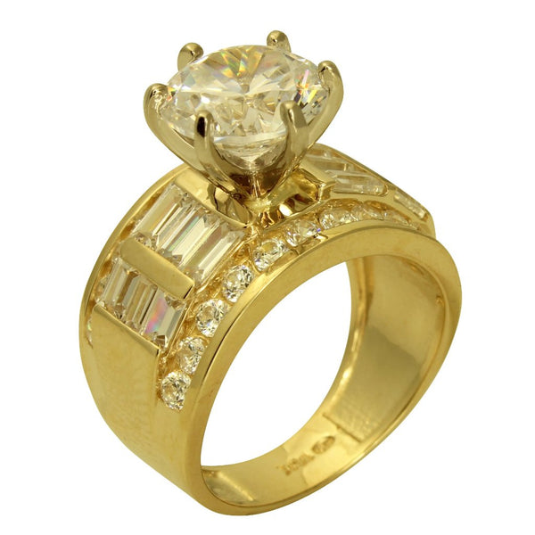 4.50 Ct 14K Real Yellow Gold Big Fancy Round Cut Center with Baguette and Round Channel Set Side Stones 6 Prong Cathedral Setting Engagement Wedding Bridal Propose Promise Ring Band