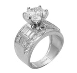 4.50 Ct 14K Real White Gold Big Fancy Round Cut Center with Baguette and Round Channel Set Side Stones 6 Prong Cathedral Setting Engagement Wedding Bridal Propose Promise Ring Band
