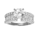 3.00 Ct 14K Real White Gold Fancy Round Cut Center with Princess Baguette Round Channel Pave Set Side Stones 4 Prong Cathedral Setting Engagement Wedding Propose Promise Ring