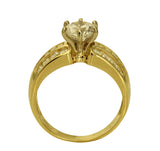 2.00 Ct 14K Real Yellow Gold Round Cut with Princess & Round Channel Set Side Stones 3 Lines Rows 6 Prong Cathedral Setting Solitaire Engagement Wedding Propose Promise Ring