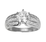 2.00 Ct 14K Real White Gold Round Cut with Princess & Round Channel Set Side Stones 3 Lines Triple Row 6 Prong Cathedral Setting Engagement Wedding Propose Promise Ring