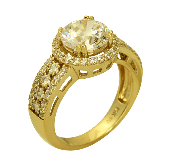 3.00 Ct 14K Real Yellow Gold Big Fancy Round Cut Center with Princess & Round Side Stones Illusion Halo Setting Engagement Wedding Bridal Propose Promise Ring