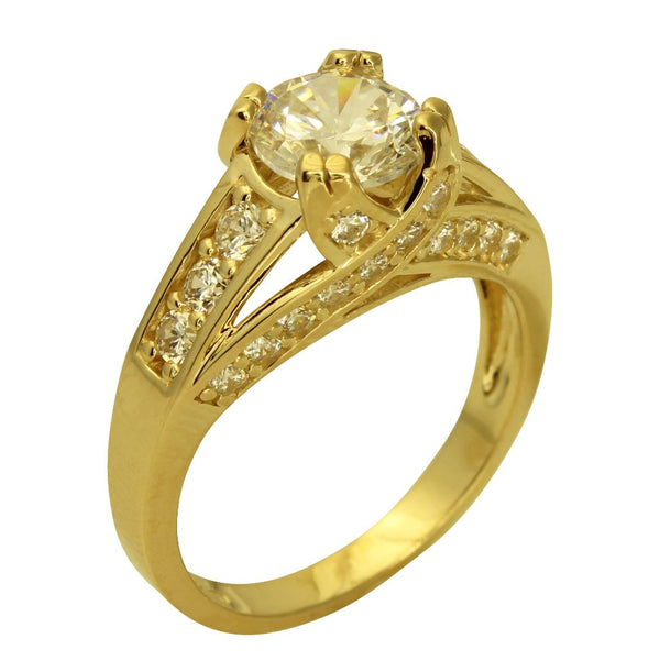 3.00 Ct 14K Real Yellow Gold Big Fancy Round Cut Center with Pave Set Side Stones 4 Double Prong Trellis Setting Engagement Wedding Propose Promise Ring