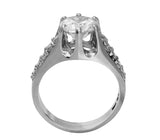 3.50 Ct 14K Real White Gold Big Fancy Round Cut Center with Pave Set Side Stones 6 Prong Cathedral Setting Engagement Wedding Bridal Propose Promise Ring