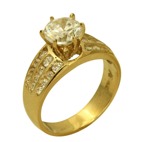 2.00 Ct 14K Real Yellow Gold Round Cut with Channel Set Side Stones 3 Lines Rows 6 Prong Cathedral Setting Engagement Wedding Propose Promise Ring