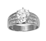 2.00 Ct 14K Real White Gold Round Cut with Channel Set Side Stones 3 Lines Rows 6 Prong Cathedral Setting Engagement Wedding Propose Promise Ring