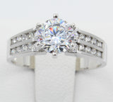 1.50 Ct 14K Real White Gold Round Cut with Double 2 Lines Rows Channel Set Side Stones 6 Prong Cathedral Setting Engagement Wedding Propose Promise Ring