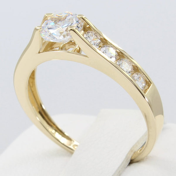 1.00 Ct 14K Real Yellow Gold Round Cut 4 Prong Setting with Channel Set Side Stones Engagement Bridal Promise Ring