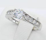 1.00 Ct 14K Real White Gold Round Center with Channel Set Side Stones Engagement Wedding Bridal Propose Promise Ring