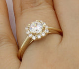 1.00 Ct 14K Real Yellow Gold Round Cut Illusion Halo Setting Engagement Bridal Wedding Propose Promise Ring