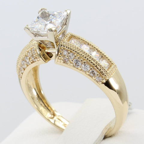 2.50 Ct 14K Real Yellow Gold Square Princess Cut Center with Princess & Round Channel Pave Set Side Stones 4 Prong Cathedral Setting Fancy Antique Vintage Style Engagement Bridal Wedding Propose Promise Ring