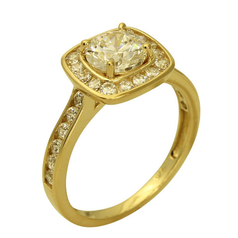 2.00 Ct 14K Real Yellow Gold Round Cut with Channel Set Side Stones Illusion Halo Setting Engagement Wedding Bridal Promise Ring
