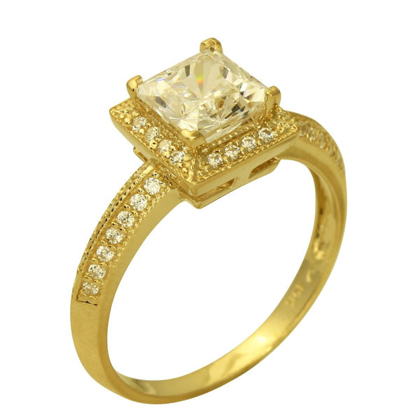 2.00 Ct 14K Real Yellow Gold Square Princess Cut with Round Pave Set Side Stones 4 Prong Illusion Halo Setting Solitaire Engagement Propose Promise Ring