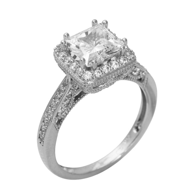 2.50 Ct 14K Real White Gold Fancy Square Princess Cut Center with Pave Set Side Stones Illusion Halo Setting Antique Vintage Style Engagement Wedding Bridal Propose Promise Ring
