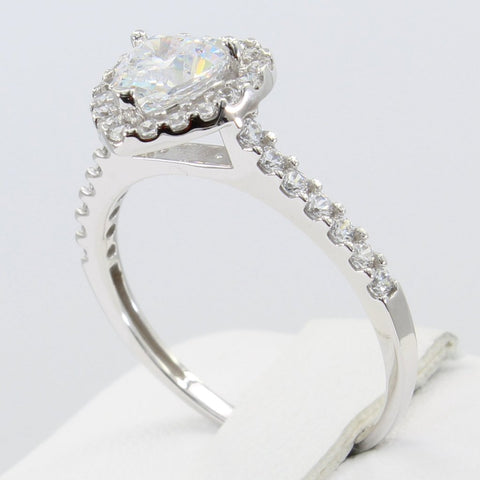 1.50 Ct 14K Real White Gold Heart Shape Cut with Pave Set Side Stones Illusion Halo Setting Engagement Bridal Wedding Propose Promise Ring