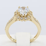 2.00 Ct 14K Real Yellow Gold Round Cut with Pave Set Side Stones 4 Prong Illusion Halo Setting Cluster Flower Shape Engagement Bridal Propose Promise Ring