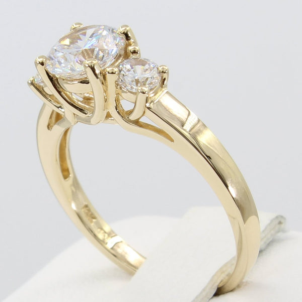 1.50 Ct 14K Real Yellow Gold Round Cut 3 Three Stones 4 Prong Trellis Basket Setting Wedding Engagement Bridal Propose Promise Ring