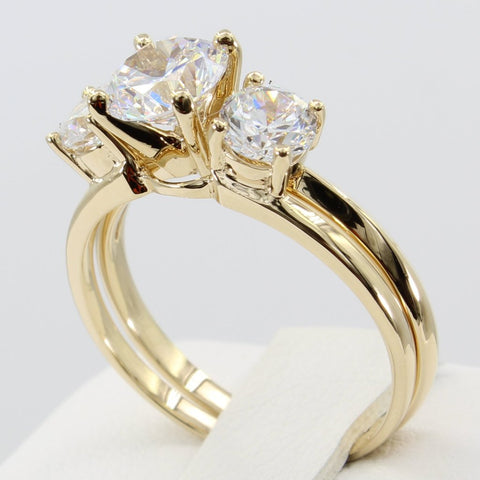2.25 Ct 14K Real Yellow Gold 3 Three Stones Round Cut with Side Stones Matching Band 4 Prong Cathedral Setting Solitaire Engagement Wedding Bridal Propose Promise Duo 2 Piece Ring Set