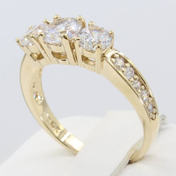 2.00 Ct 14K Real Yellow Gold 3 Three Stones Round Cut with Pave Set Side Stones 4 Prong Basket Setting Engagement Bridal Wedding Propose Promise Ring