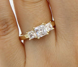1.50 Ct 14K Real Yellow Gold Square Princess Cut 3 Three Stones 4 Prong Basket Setting Wedding Engagement Bridal Propose Promise Ring