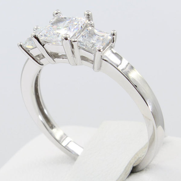 1.50 Ct 14K Real White Gold Square Princess Cut 3 Three Stones 4 Prong Basket Setting Wedding Engagement Bridal Promise Ring