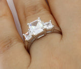 2.50 Ct 14K Real White Gold 3 Three Stones Emerald Cut Center with Princess Cut Side Stones 4 Prong Basket Setting Wedding Engagement Propose Promise Ring