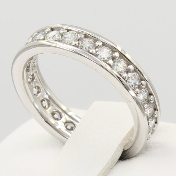 1.50 Ct 14K Real White Gold Round Cut Pave Set Eternity Wedding Anniversary Bridal Ring Band