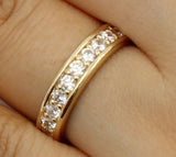 1.50 Ct 14K Real Yellow Gold Round Cut Pave Set Eternity Wedding Anniversary Bridal Ring Band