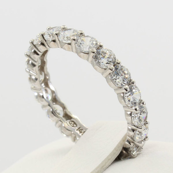 2.00 Ct 14K Real White Gold Round Cut Eternity Endless Wedding Anniversary Ring Band