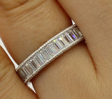 2.50 Ct 14K Real White Gold Baguette Cut Channel Set Eternity Endless Wedding Anniversary Ring Band